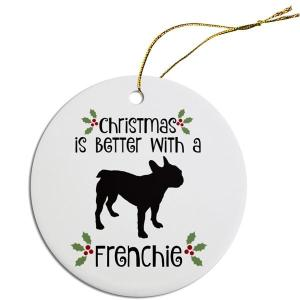 Round Christmas Ornament - Frenchie   The Pet Boutique