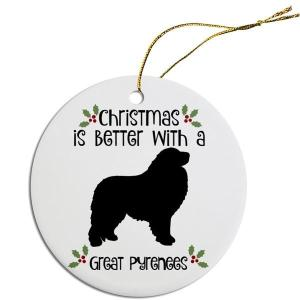 Round Christmas Ornament - Great Pyrenees   The Pet Boutique