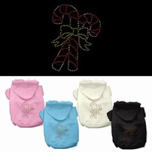 Candy Cane Rhinestone Pet Hoodie | The Pet Boutique