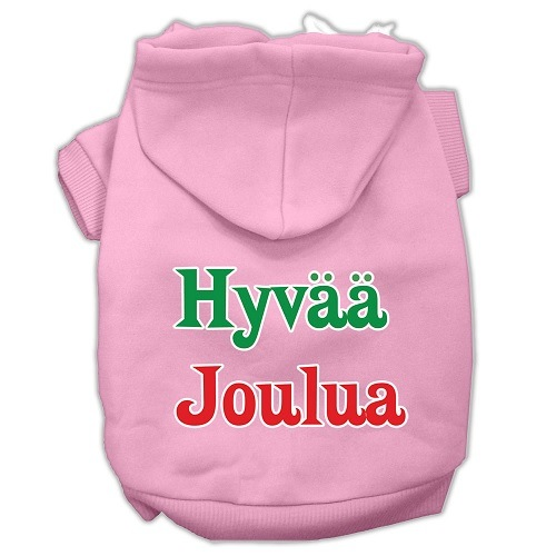 Hyvaa Joulua Screen Print Pet Hoodie - Light Pink | The Pet Boutique