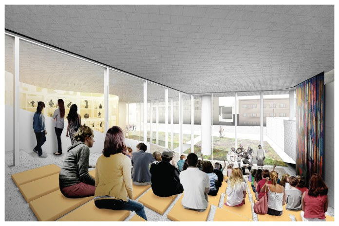 An architectural mock-up of the gallery's learning steps. Patrons sit and watch Elders speak.