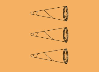 An illustration in black lines on a yellow background. It shows three megaphones.