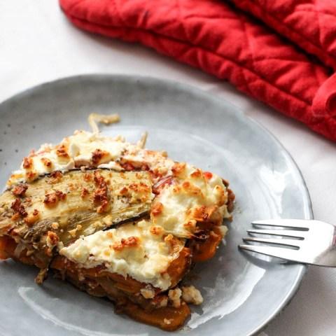 Lasagne végétarienne à la patate douce, aubergine et feta