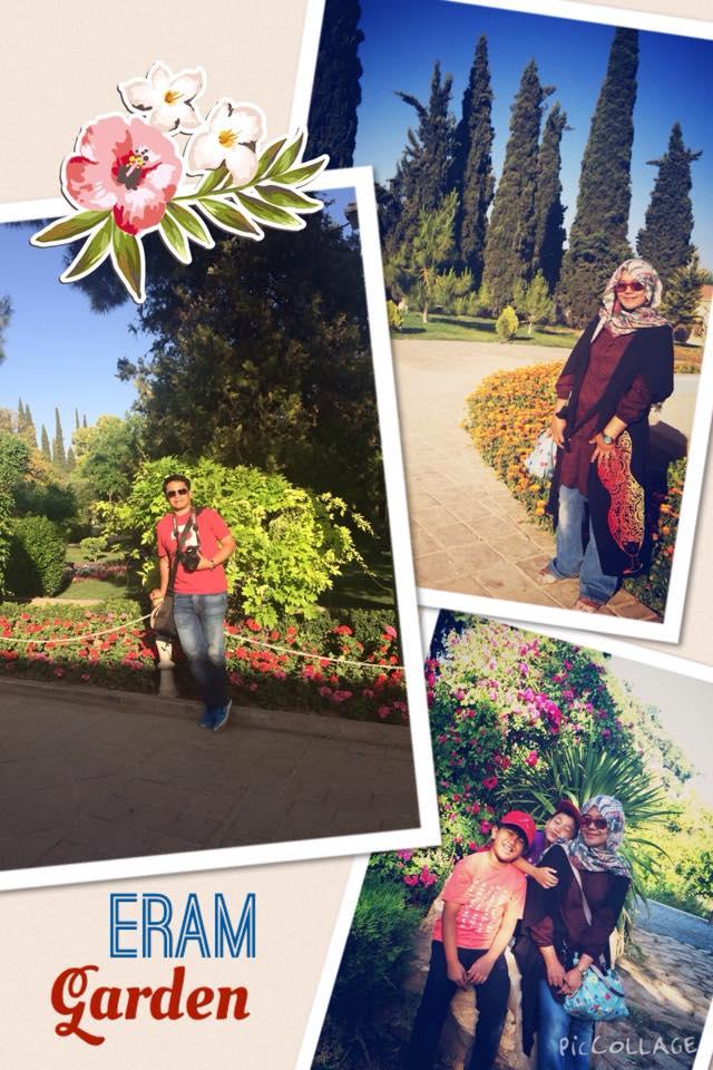 Berbagai sudut di Eram Garden. Taman botanikal terbesar di Shiraz.