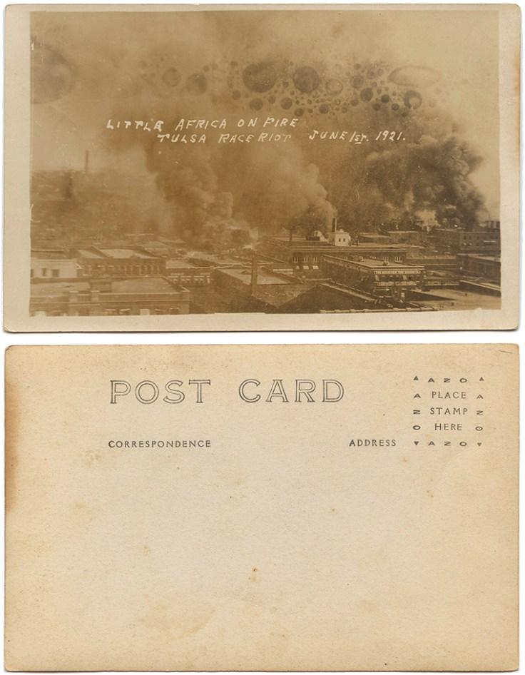 tulsa massacre, Burning neighborhood with inscription 'Little Africa on Fire'