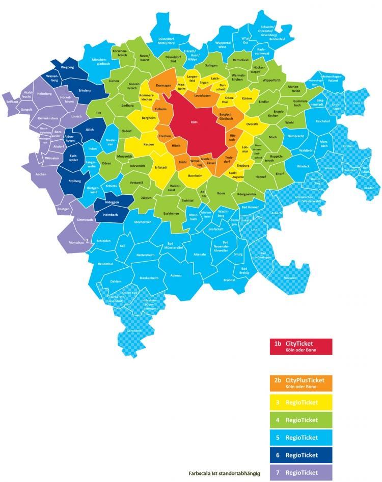 Public transport Cologne: tariff zones