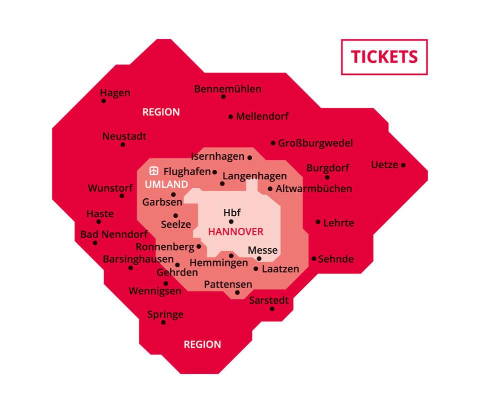 Tariff zones for Tickets (c) Üstra
