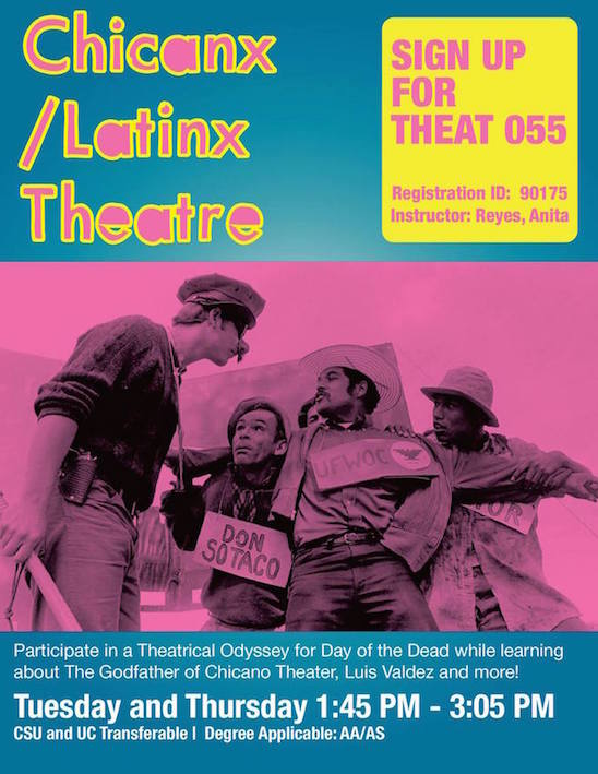 The debut poster introducing a new Theatre Arts course at SJCC — Chicanx/Latinx Theatre.
