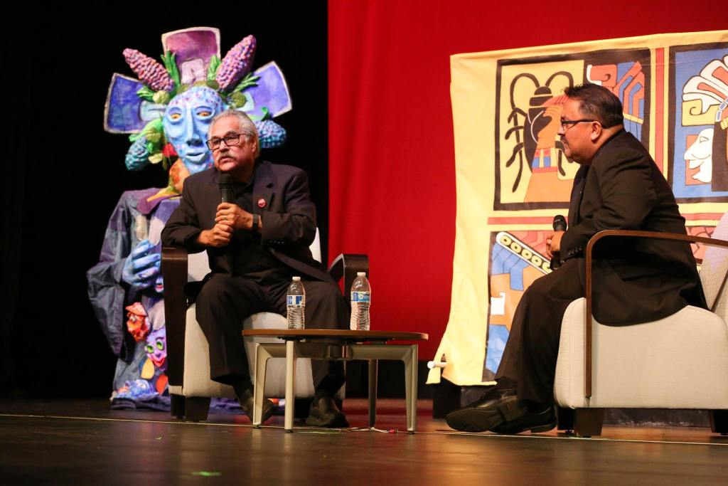 Luis Valdez, playwright and founder of El Teatro Campesino, in conversation at a San José City College Theatre Arts event in 2017.