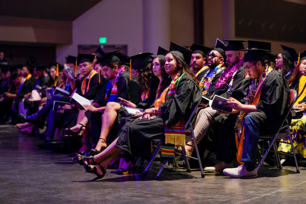 San José City College commencement ceremony in 2019 at the Santa Clara Convention Center. Many students transfer to a 4-year university after completing their associate degree.