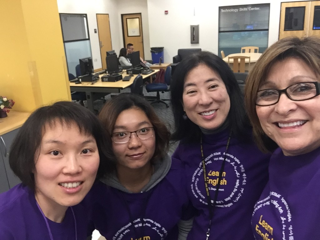 Learning Resource Center Staff. Left to Right: Chunhua Wang (Instructional Support Assistant), Michelle Zhen (former Student Assistant), Leslie Takei (ESL Instructor), and Debra Travis (Senior Administrative Assistant).