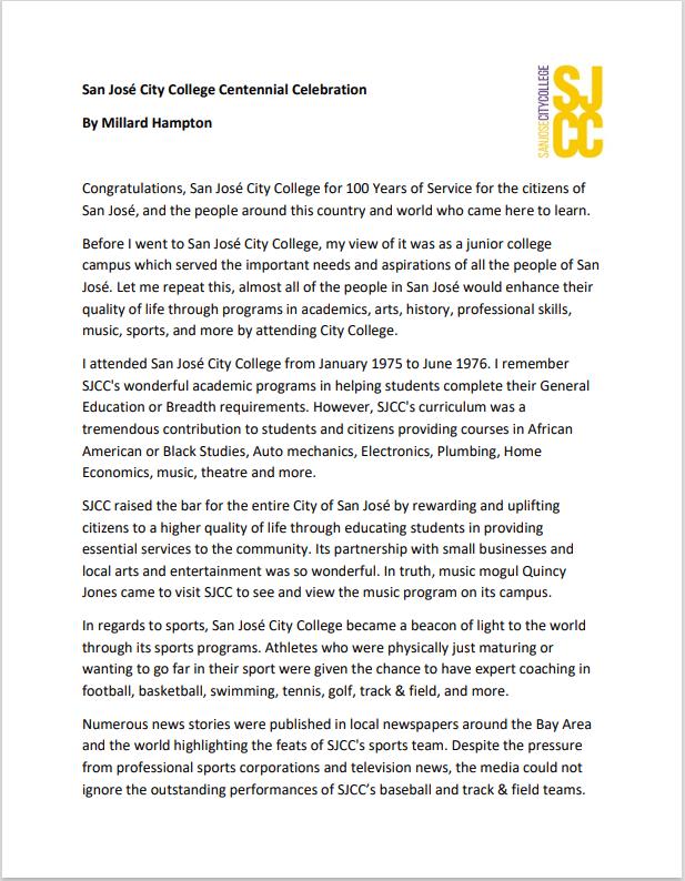 Millard Hampton's SJCC Centennial statement