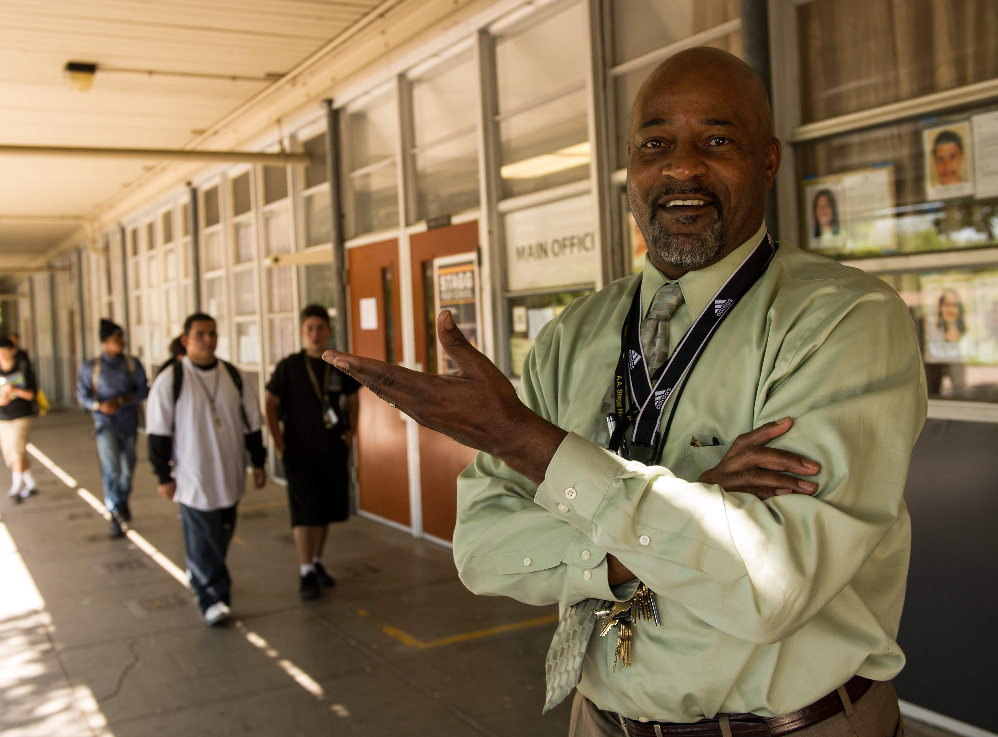 Principal Phillips at Stagg High School in Stockton