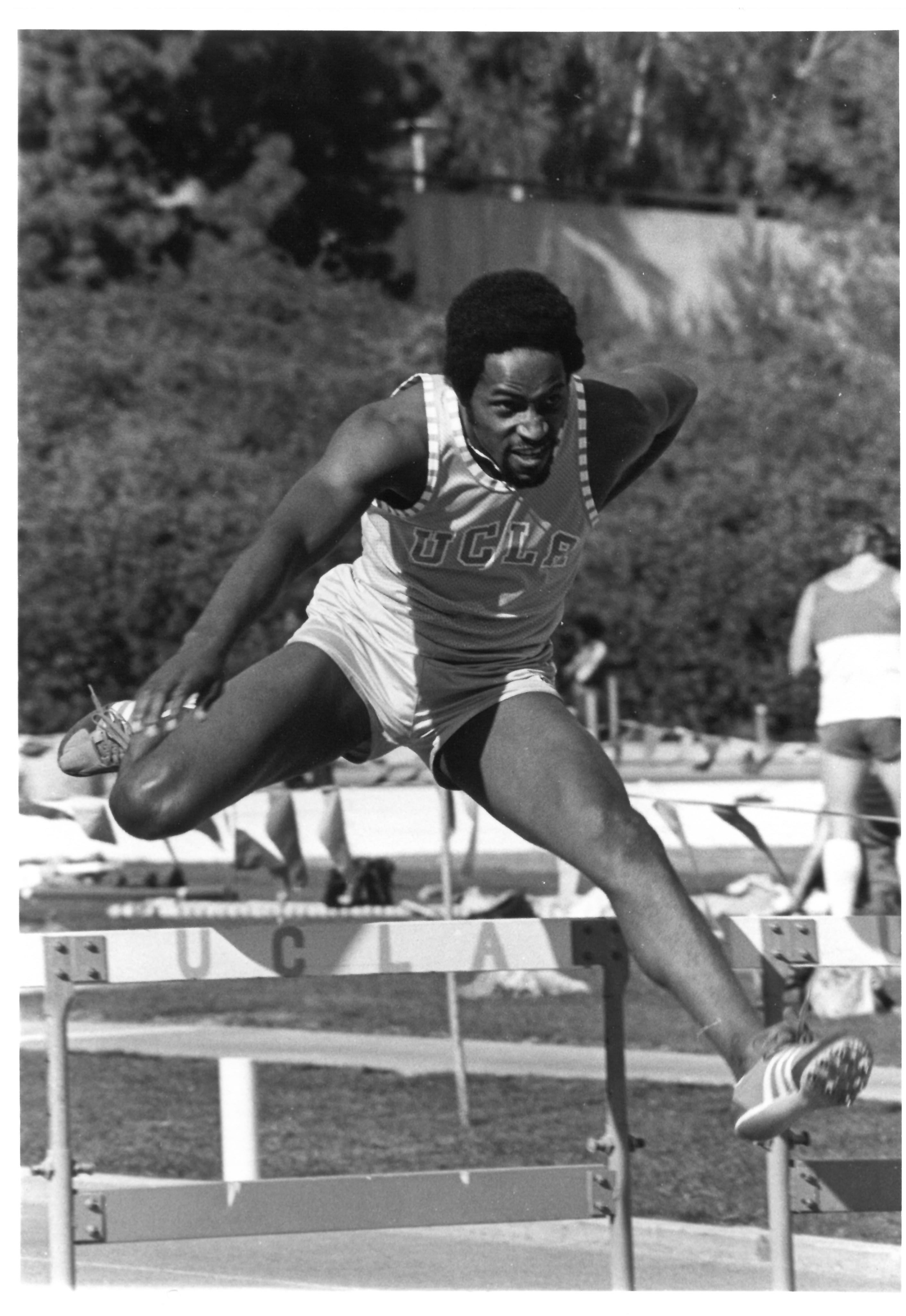 Phillips running 400m Hurdles at UCLA