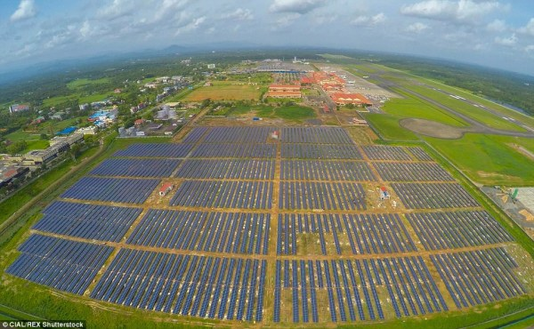 This 12 MWp solar farm will produce enough electricty to make Cochin Airport grid neutral (photo: CIAL/REX Shutterstock)