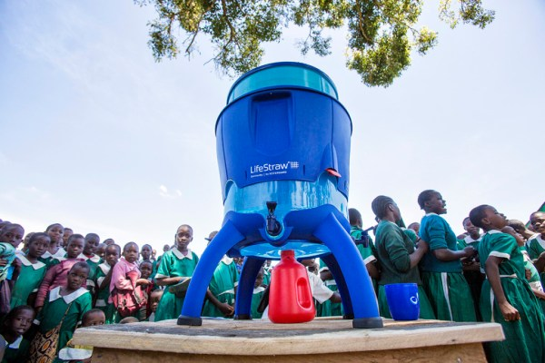 The community version of Vestergaard's life-saving filter technology is bringing clean drinking water to schools in Kenya (photo: LifeStraw)