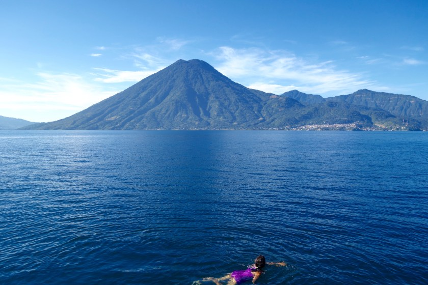 swimming lake atitlan, digital nomads, shivya nath