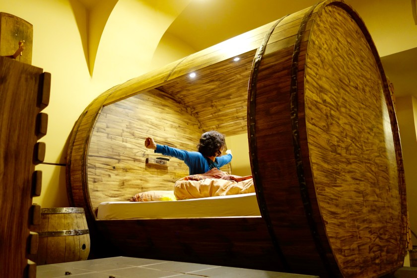 sleep in a wine barrel, unique airbnb ljubljana, cool places to stay in ljubljana