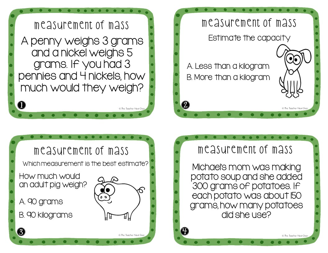 3rd Grade Measurement Of Mass Task Cards