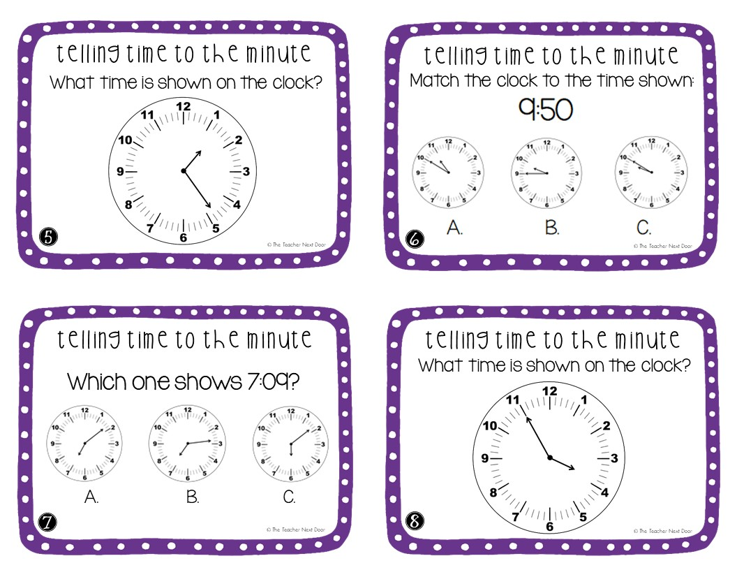 3rd Grade Telling Time To The Minute Task Cards The
