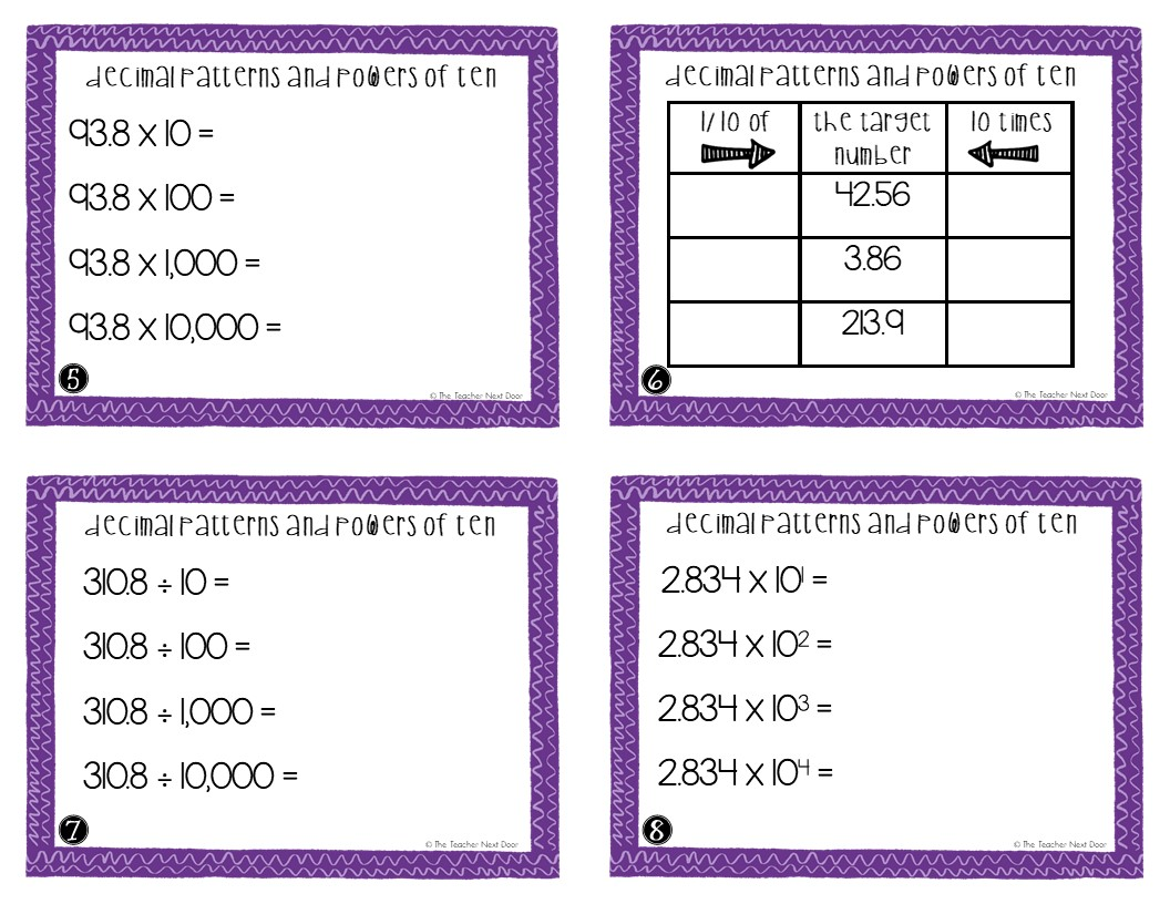 5th Grade Decimal Patterns And Powers Of Ten Task Cards