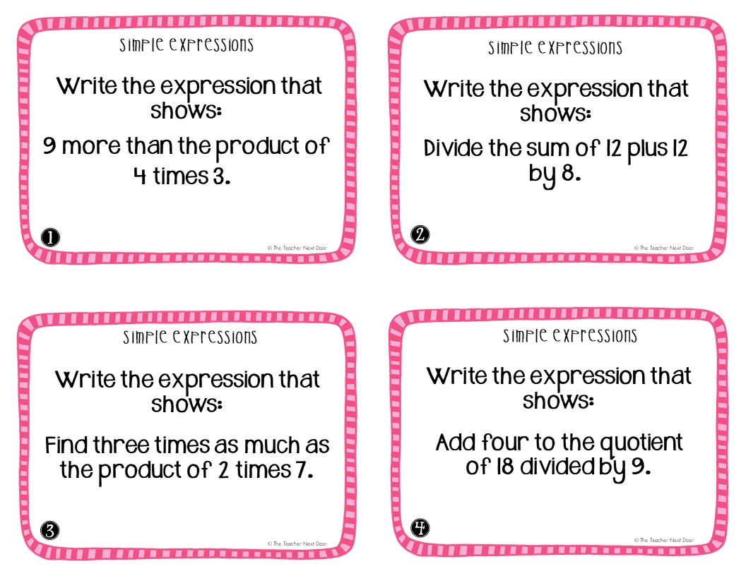 5th Grade Operations And Algebraic Thinking Task Cards