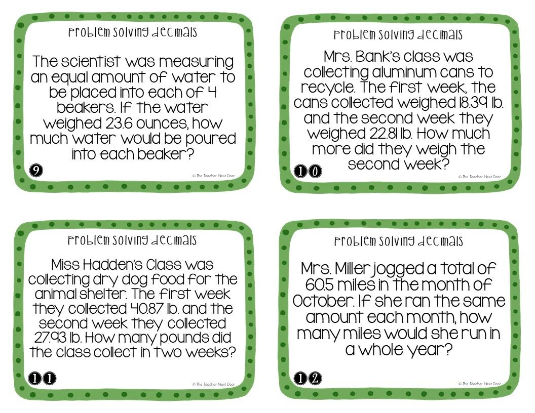 5th Grade Problem Solving Decimals Task Cards