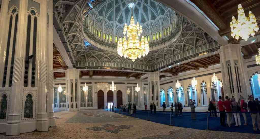 Sultan Qaboos Grand Mosque interior - the travelling twins