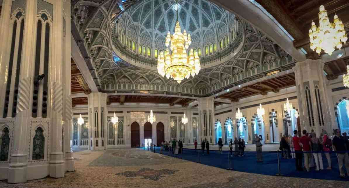 Sultan Qaboos Grand Mosque interior, grand mosque oman - the travelling twins