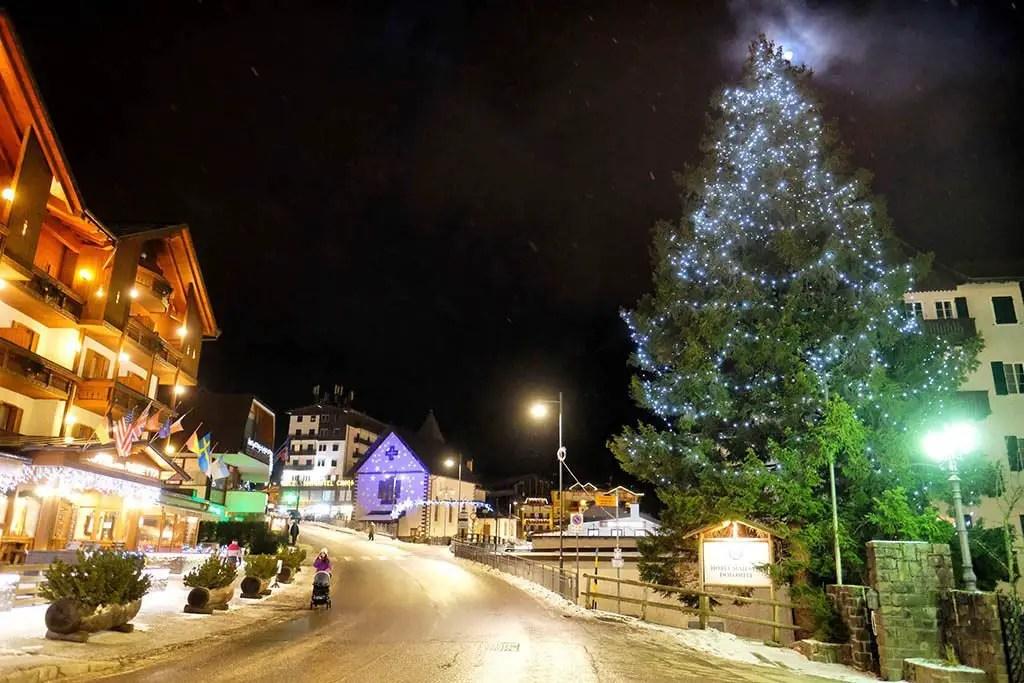 San Martino di Castrozza by night, San Martino is a ski resort town in Trentino , winter holiday in San Martino