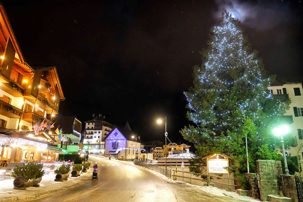 San Martino di Castrozza by night, San Martino is a ski resort town in Trentino , winter holiday in San Martino