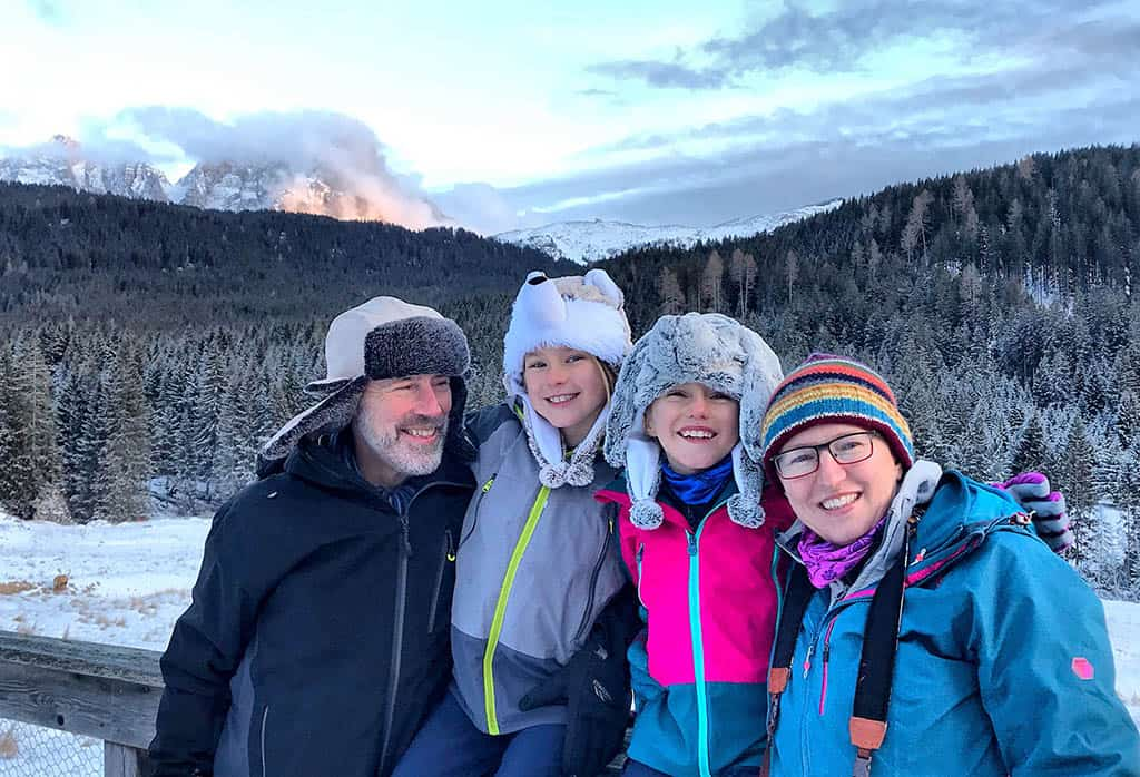 family winter holiday in San Martino