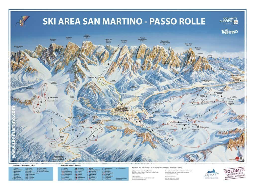 San Martino ski slope map,