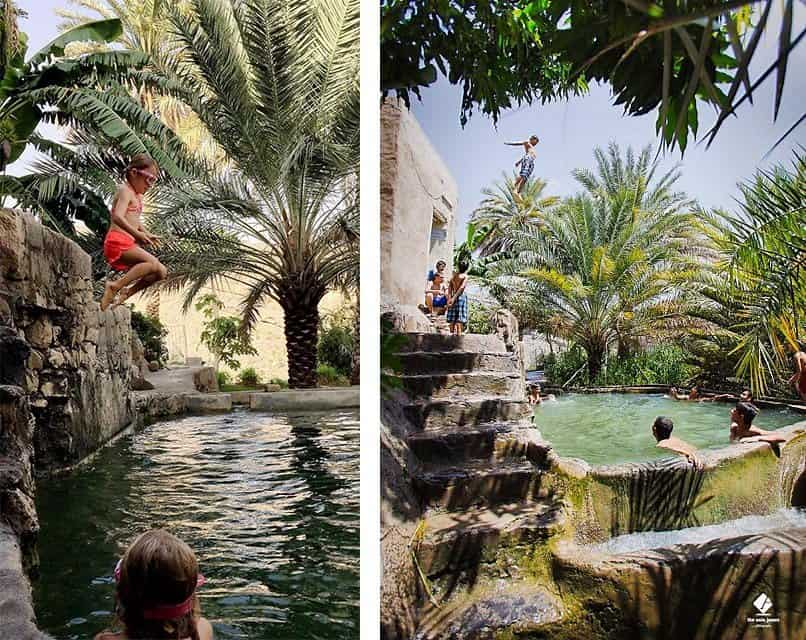 swimming pool made from falaj in old mud village