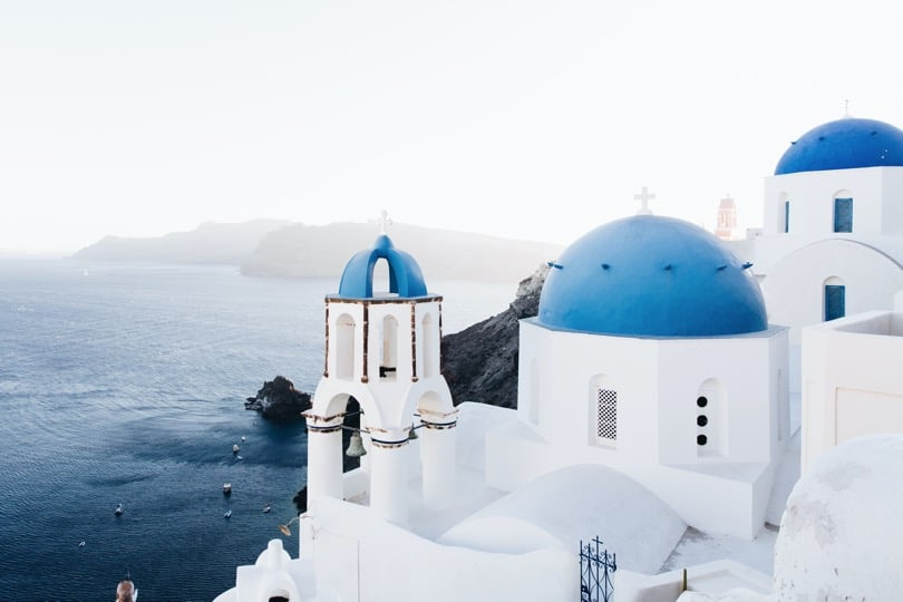 Santorini - Greek Island - popular tourist destination in Greece, Blue roofs , Islands