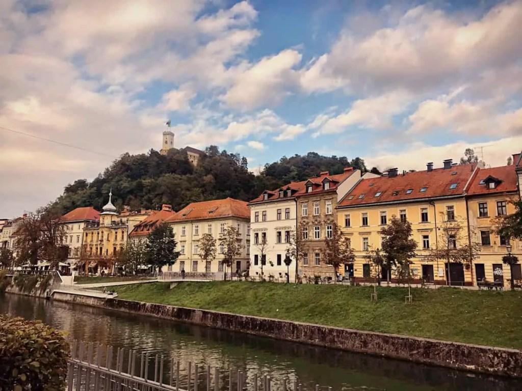 Ljubljana - in the background Ljubljana castle