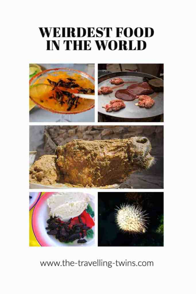 weird dishes around the world weird foods:live octopus insect caviar, casu marzu strange eaten foods larvae, rocky mountain oysters South Korea,  all rights reserved