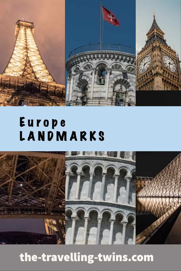 Landmarks in EUROPE The most iconic landmarks in Europe that you simply must see at least once in your life. Eiffel Tower in Paris. Colosseum in Rome. The Louvre in Paris. The Sistine Chapel in Vatican City. Leaning Tower of Pisa in Italy. Acropolis & Parthenon in Greece. Mosque-Cathedral of Cordoba in Spain.