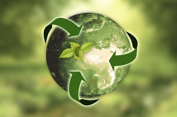 A green planet earth, surrounded by the recycling logo. 5 sustainability tips to save you money