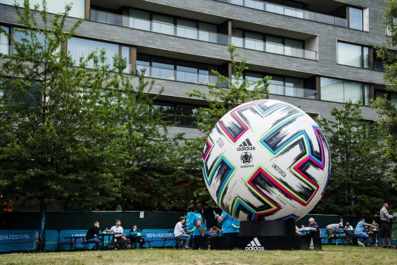Euro 2020 football in a field