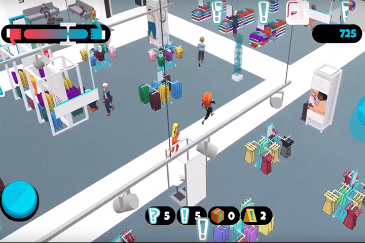A screenshot of Primark Legends showing the shop floor. Some objectives need doing, such as folding stock