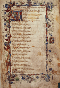 A picture taken from an original copy of Geoffrey Chaucer's The Canterbury Tales