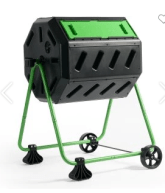 8-sided tumbler style composter with 2 chambers