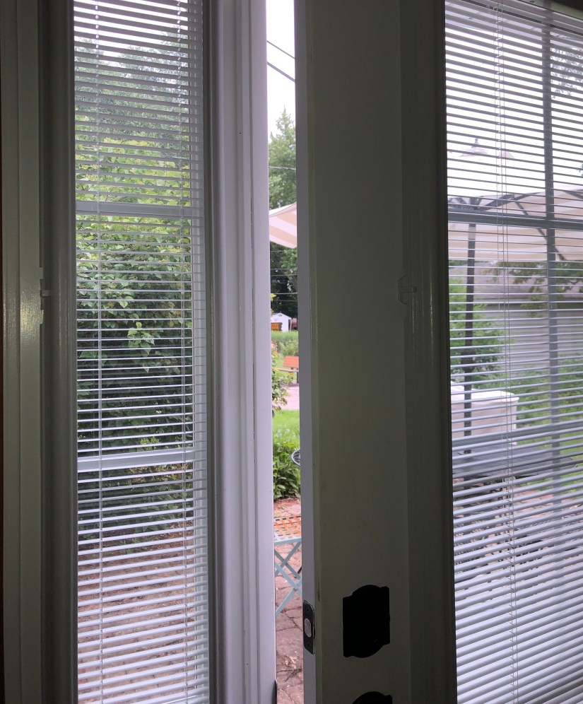 white door with opened white mini blinds ajar, opening to patio