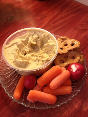 Veggies and a few pretzel crisps with hummus. And no I did not have the whole tub.