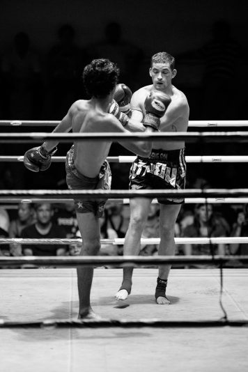 Muay Thai fighters in action.
