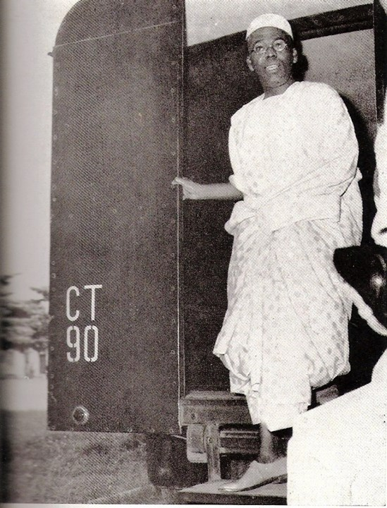 Awolowo coming out of the Black Maria (A black prison van used to transport prisoners) on his way to the High Court in Lagos to answer criminal charges brought against him by the Tafawa Balewa government on the November 1st, 1962