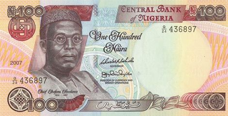 Awolowo on the N100 currency note