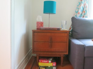 A mid-century modern side table we found at a thrift store in Manhattan.