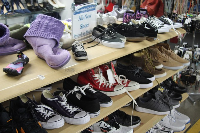 Brand new shoes are just a sampling of the super deals at Saint Vincent de Paul's Los Angeles Thrift Store